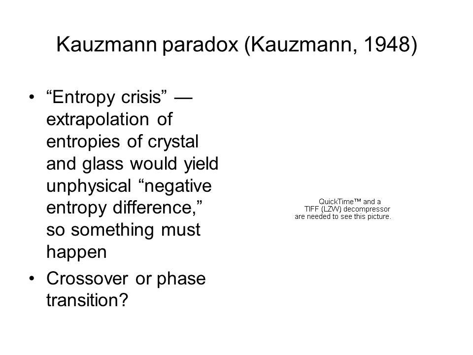 Kauzmann paradox (Kauzmann, 1948)