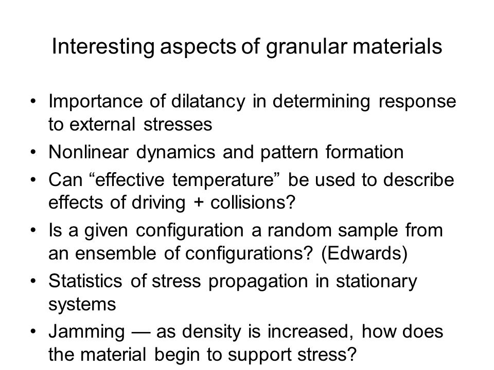 Interesting aspects of granular materials