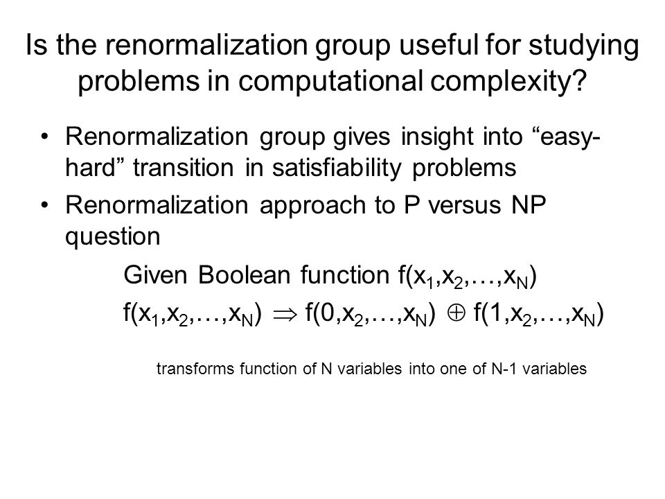 Is the renormalization group useful for studying problems in computational complexity