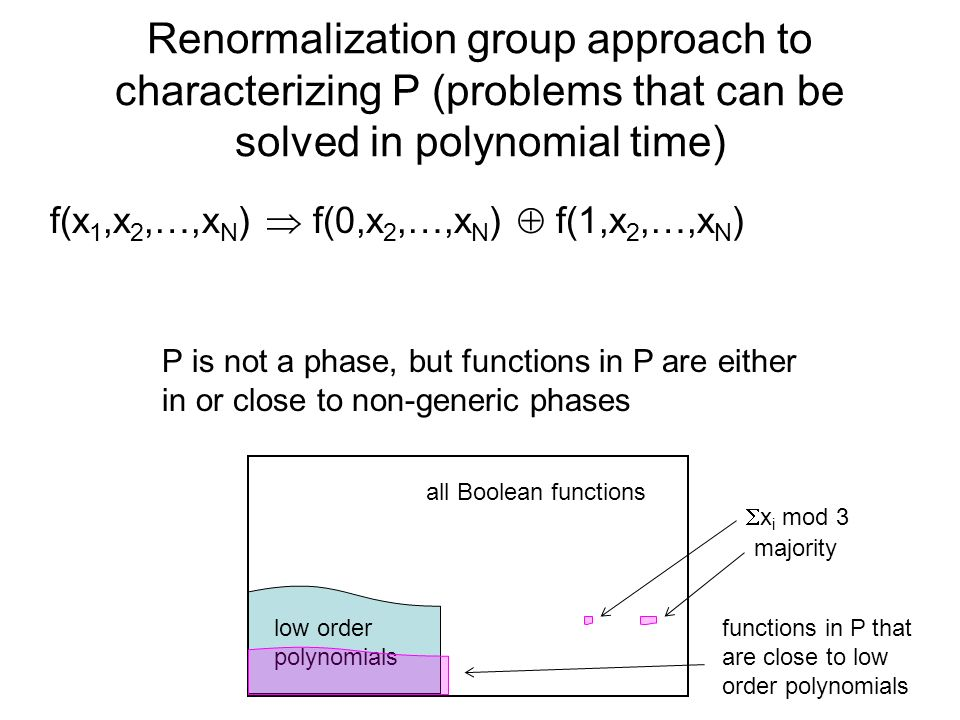 Renormalization group approach to characterizing P (problems that can be solved in polynomial time)