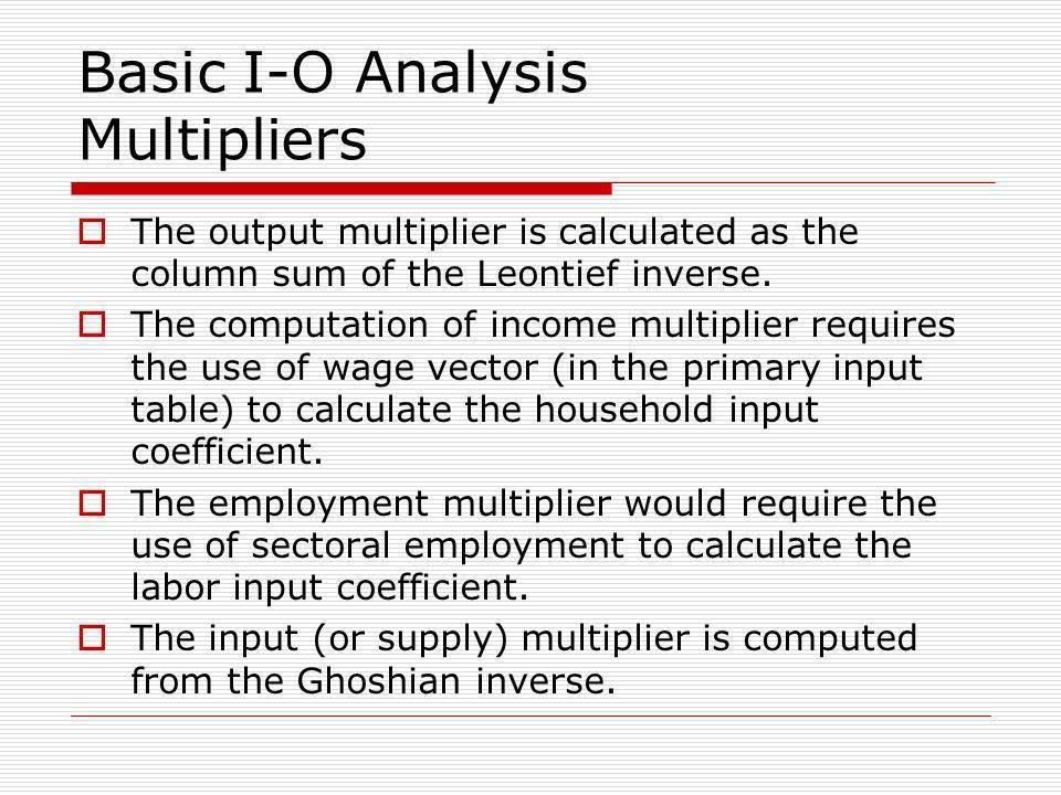 Basic I-O Analysis Multipliers