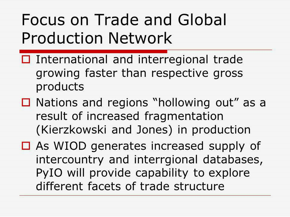 Focus on Trade and Global Production Network