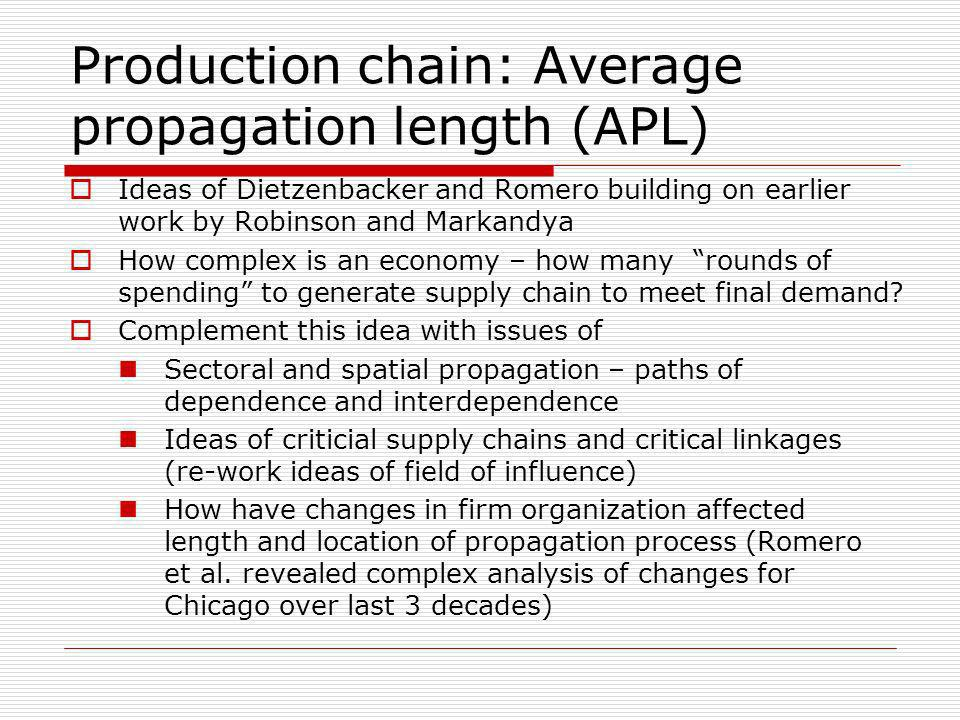 Production chain: Average propagation length (APL)