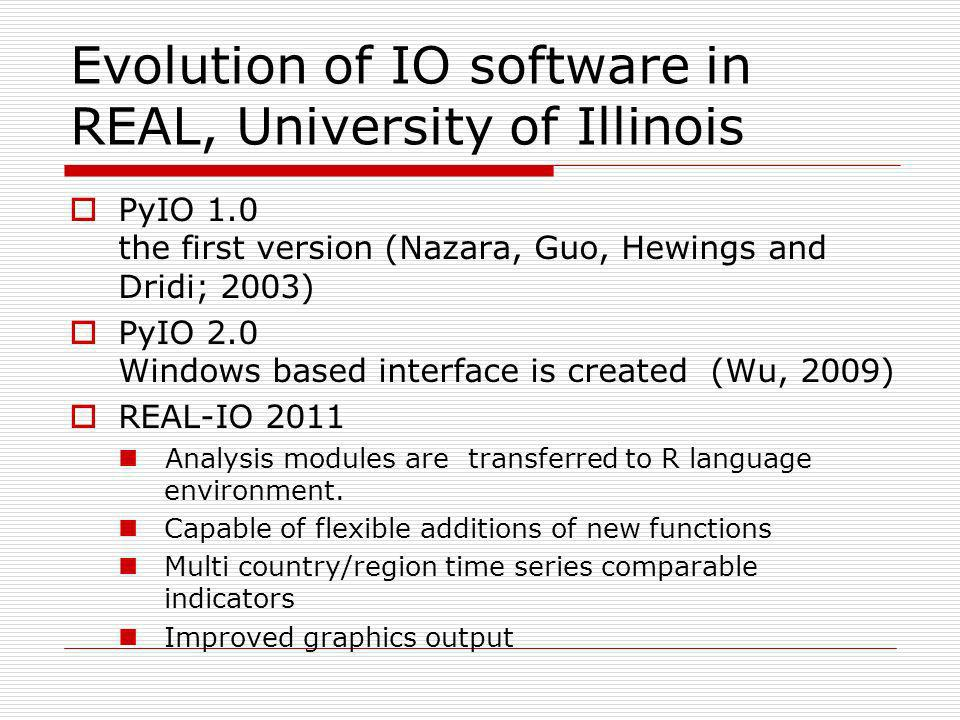Evolution of IO software in REAL, University of Illinois