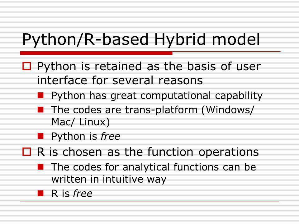 Python/R-based Hybrid model