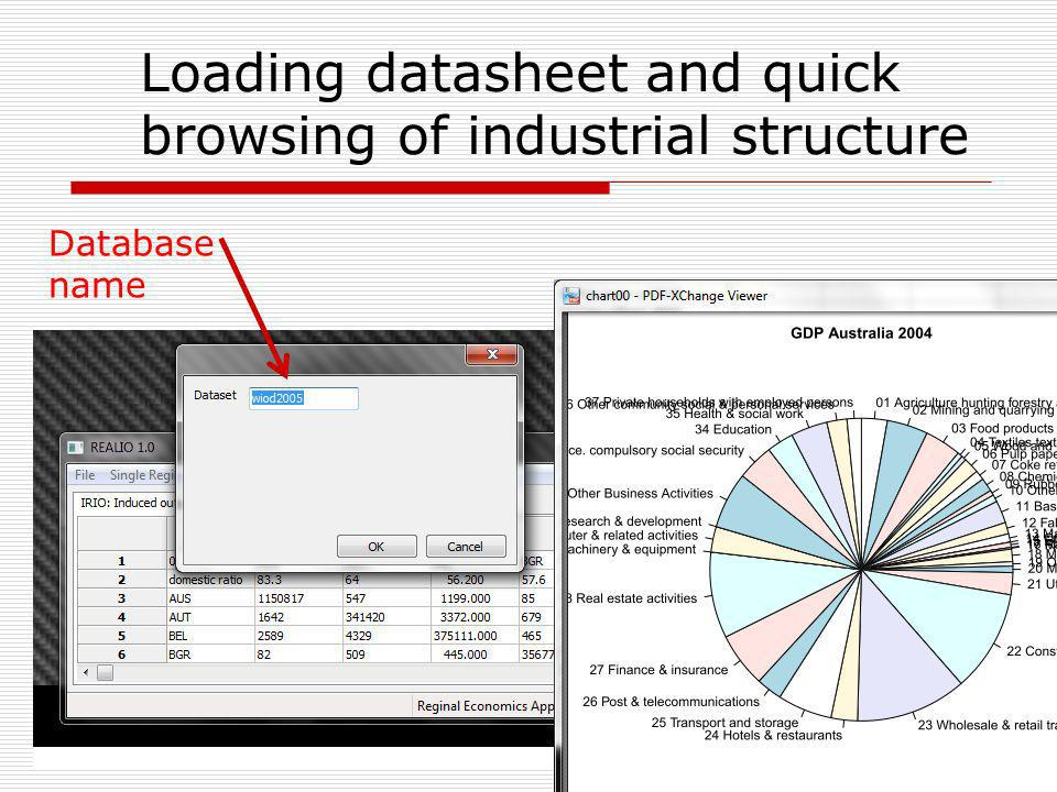 Loading datasheet and quick browsing of industrial structure