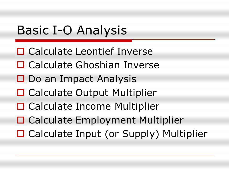 Basic I-O Analysis Calculate Leontief Inverse
