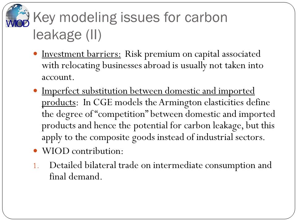 Key modeling issues for carbon leakage (II)