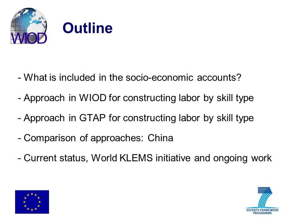 Outline What is included in the socio-economic accounts