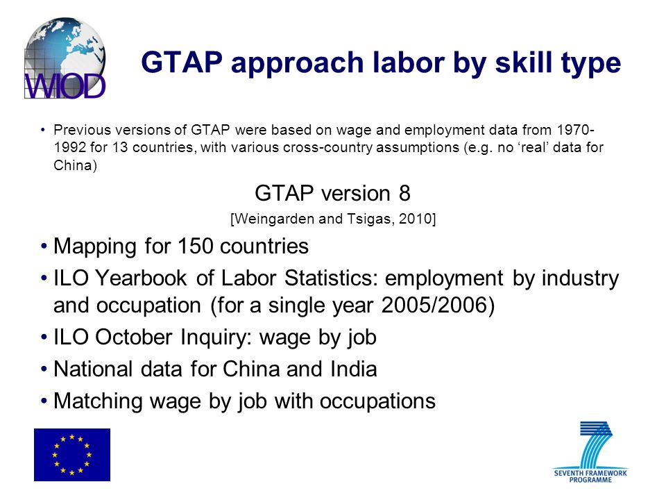 GTAP approach labor by skill type