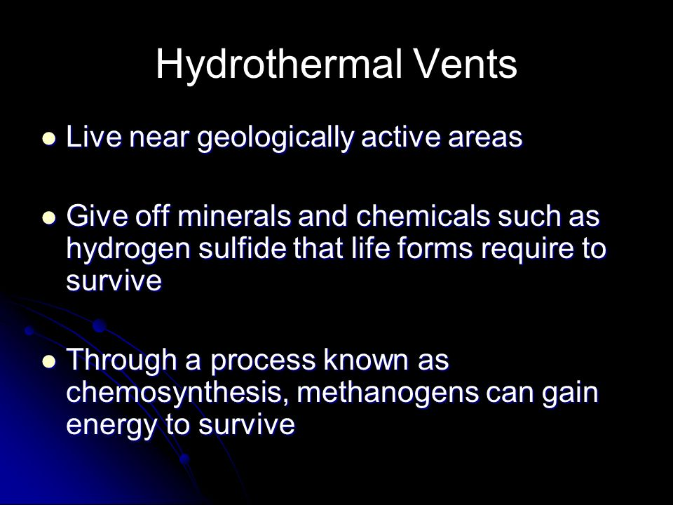 Hydrothermal Vents Live near geologically active areas