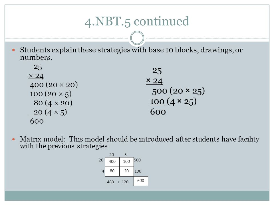 4.NBT.5 continued Students explain these strategies with base 10 blocks, drawings, or numbers. 25.