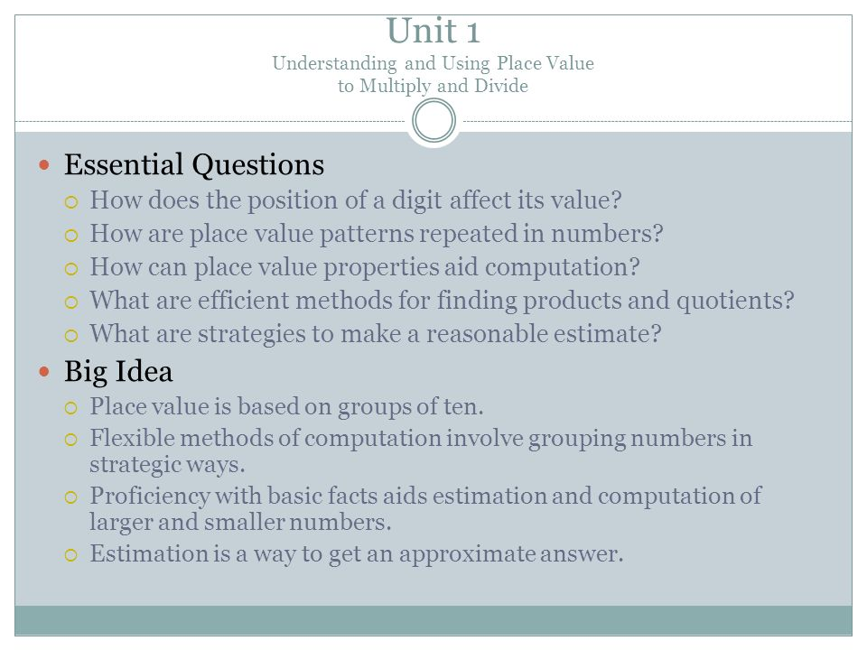 Unit 1 Understanding and Using Place Value to Multiply and Divide