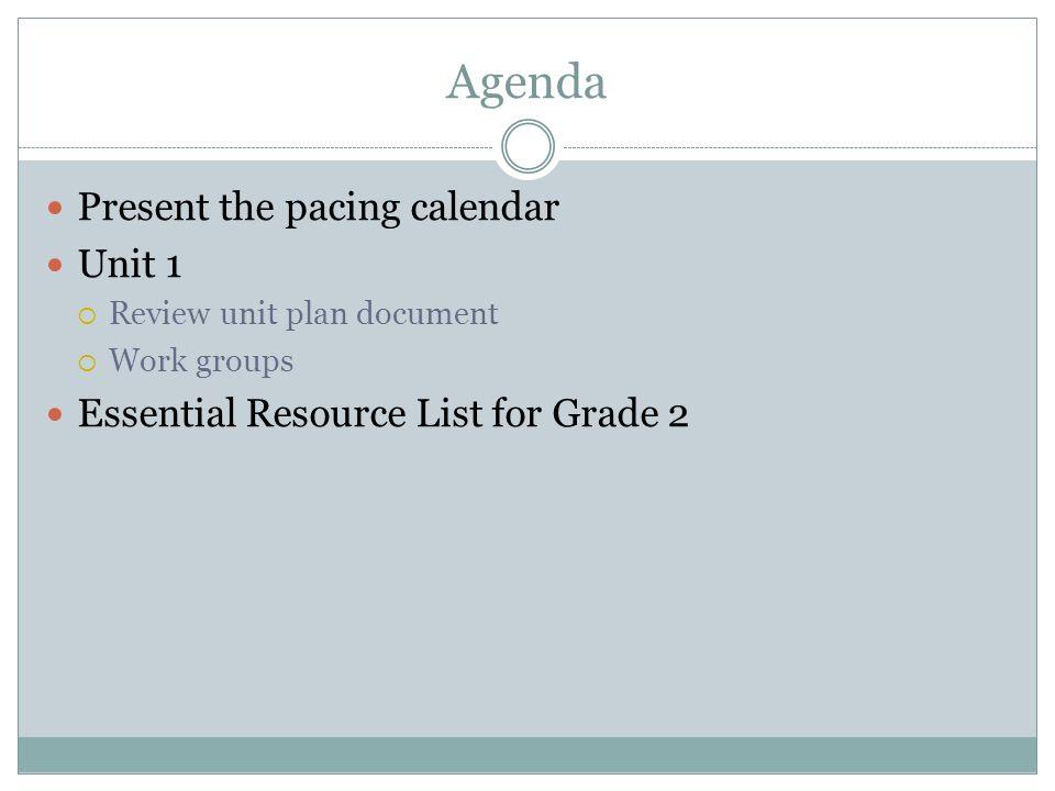 Agenda Present the pacing calendar Unit 1