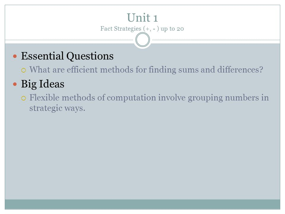 Unit 1 Fact Strategies (+, - ) up to 20