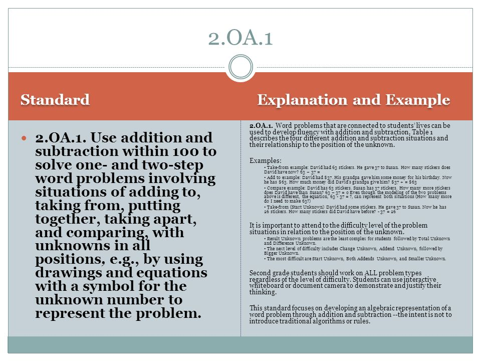 2.OA.1 Standard Explanation and Example