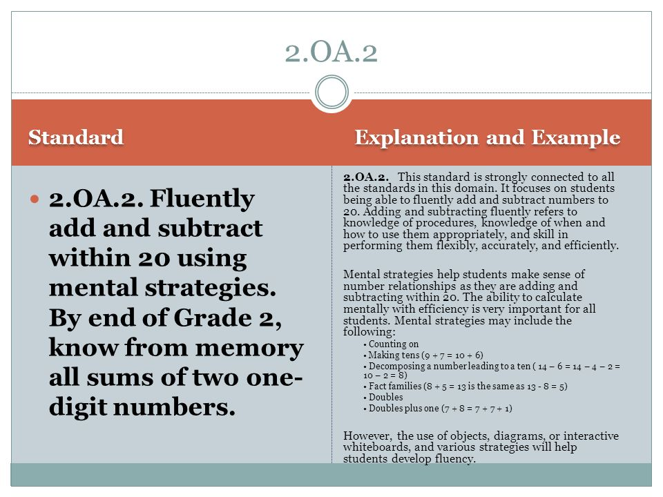 2.OA.2 Standard. Explanation and Example.