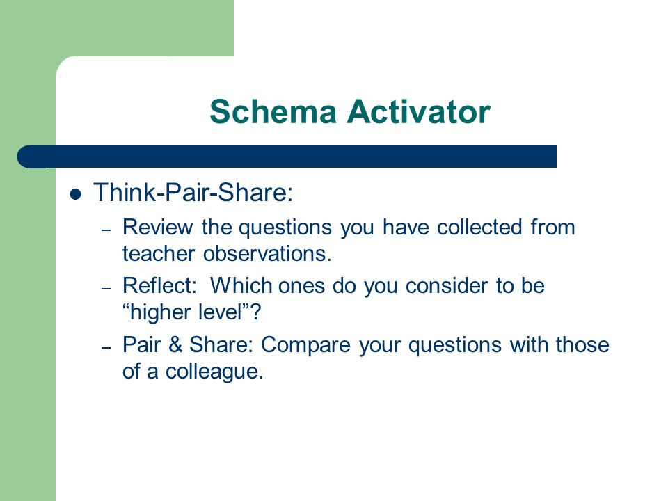 Schema Activator Think-Pair-Share: