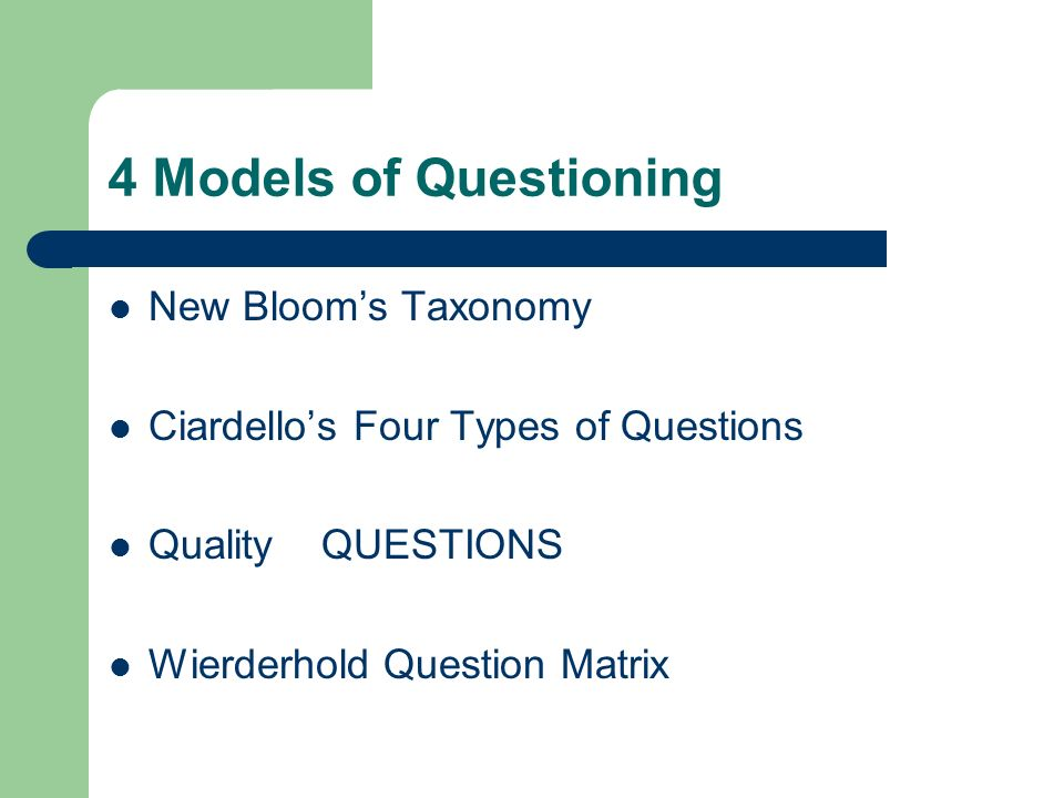 4 Models of Questioning New Bloom's Taxonomy