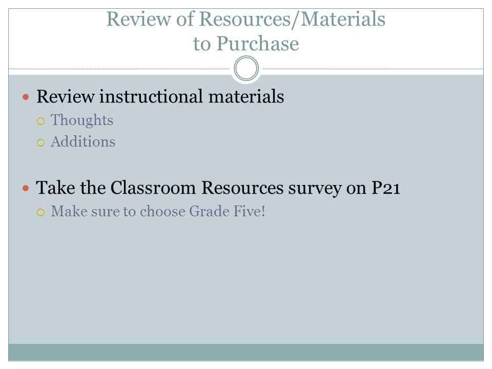 Review of Resources/Materials to Purchase