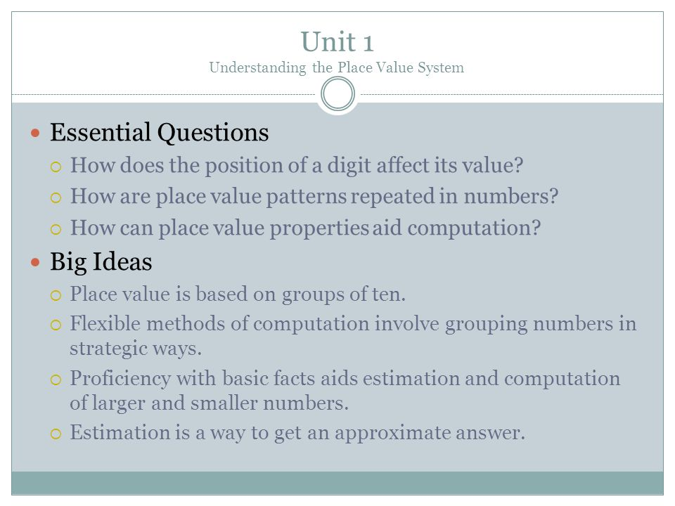 Unit 1 Understanding the Place Value System
