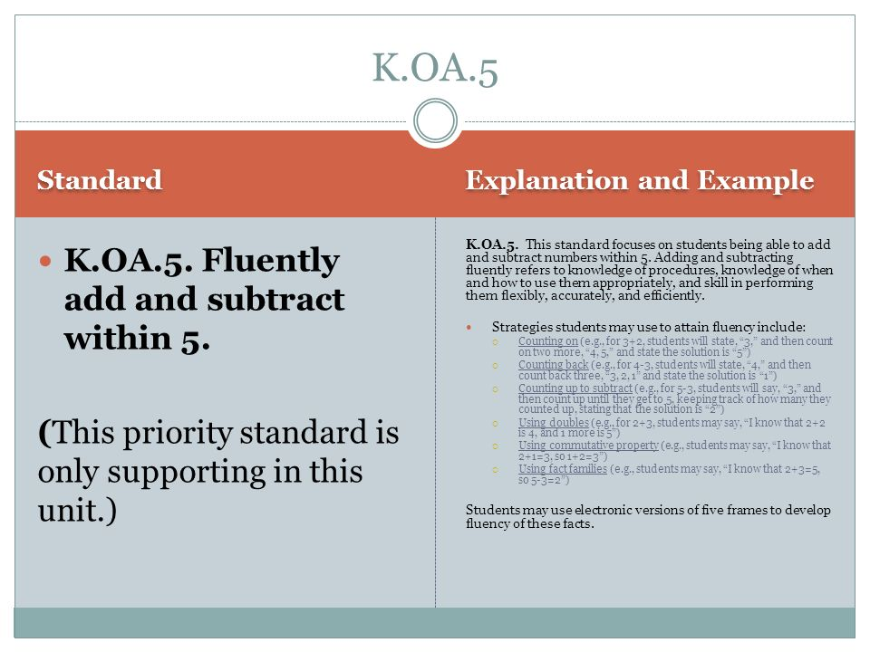 K.OA.5 K.OA.5. Fluently add and subtract within 5.