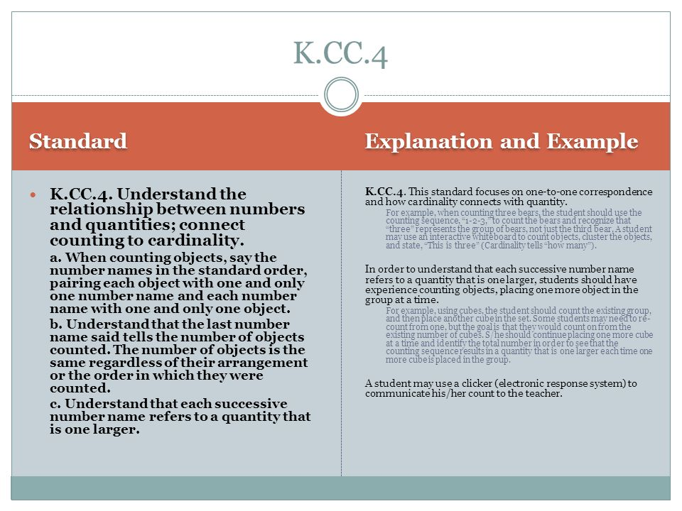 K.CC.4 Standard Explanation and Example