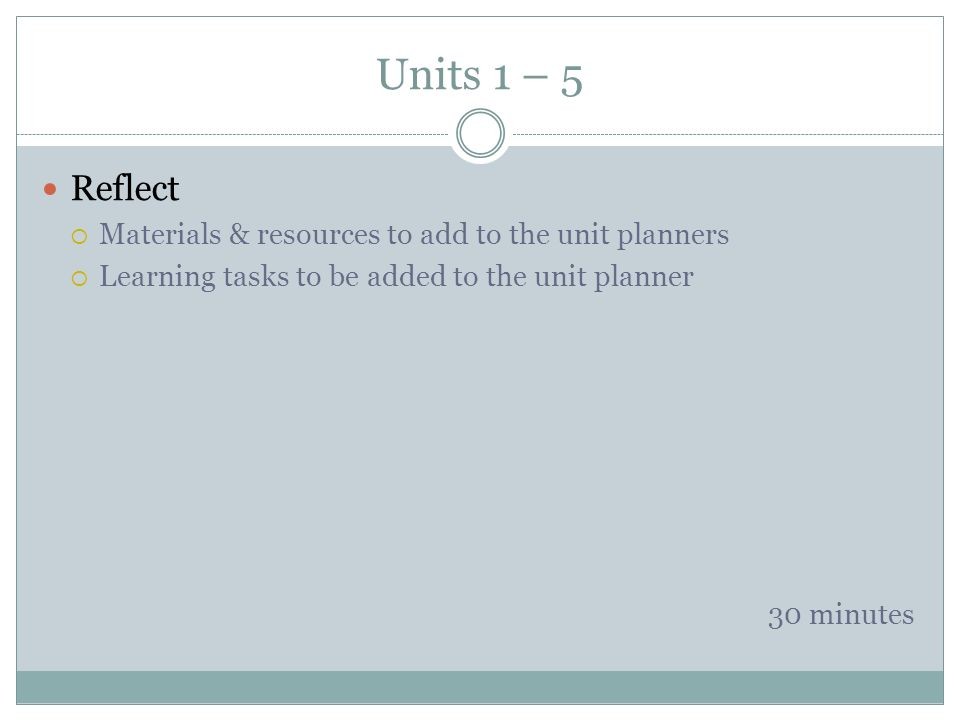 Units 1 – 5 Reflect Materials & resources to add to the unit planners