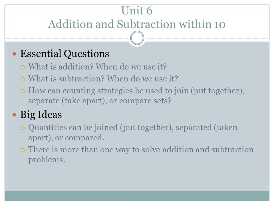 Unit 6 Addition and Subtraction within 10