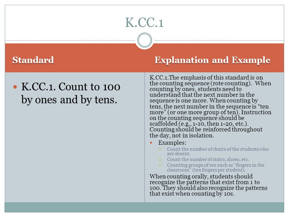 K.CC.1 K.CC.1. Count to 100 by ones and by tens. Standard
