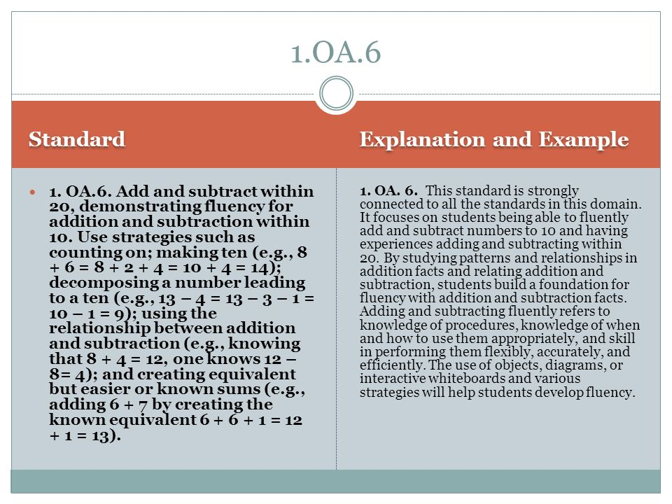 1.OA.6 Standard Explanation and Example