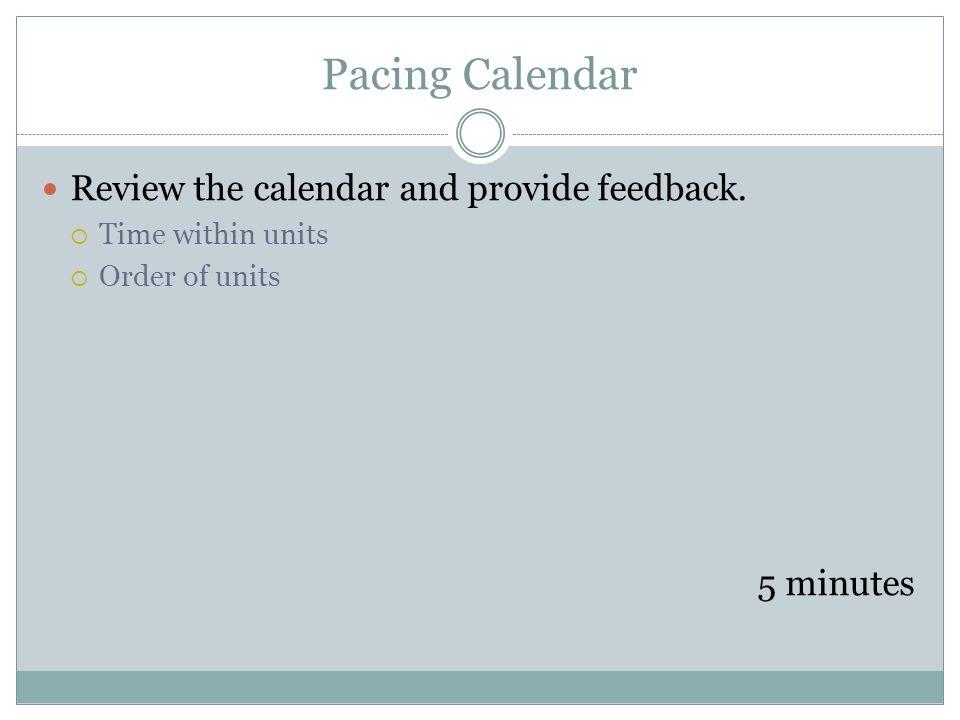 Pacing Calendar Review the calendar and provide feedback. 5 minutes