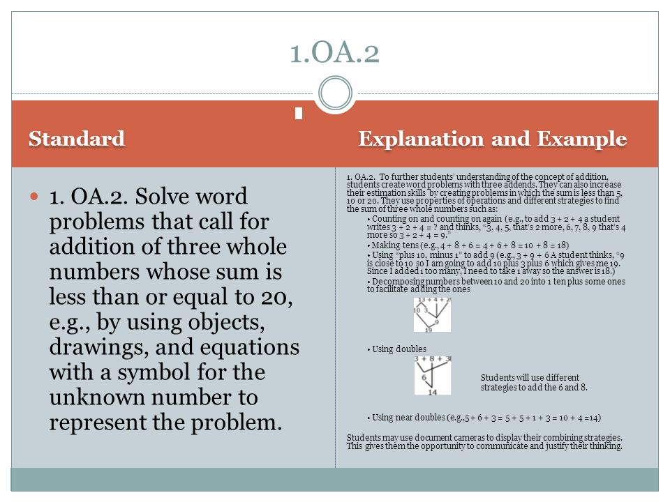 1.OA.2 Standard. Explanation and Example.
