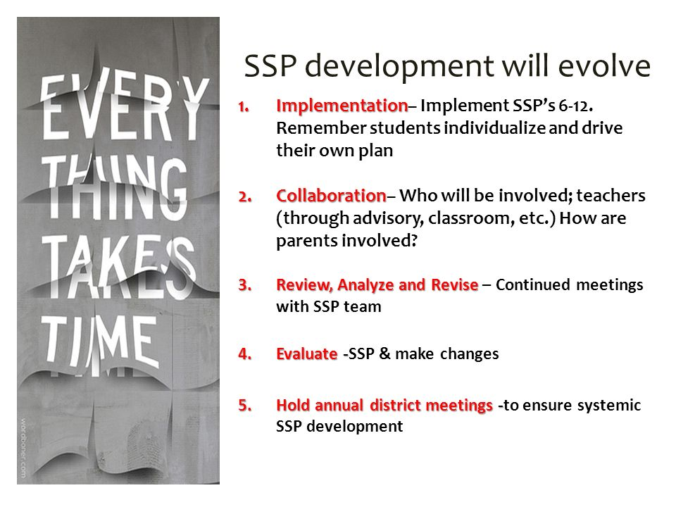 SSP development will evolve