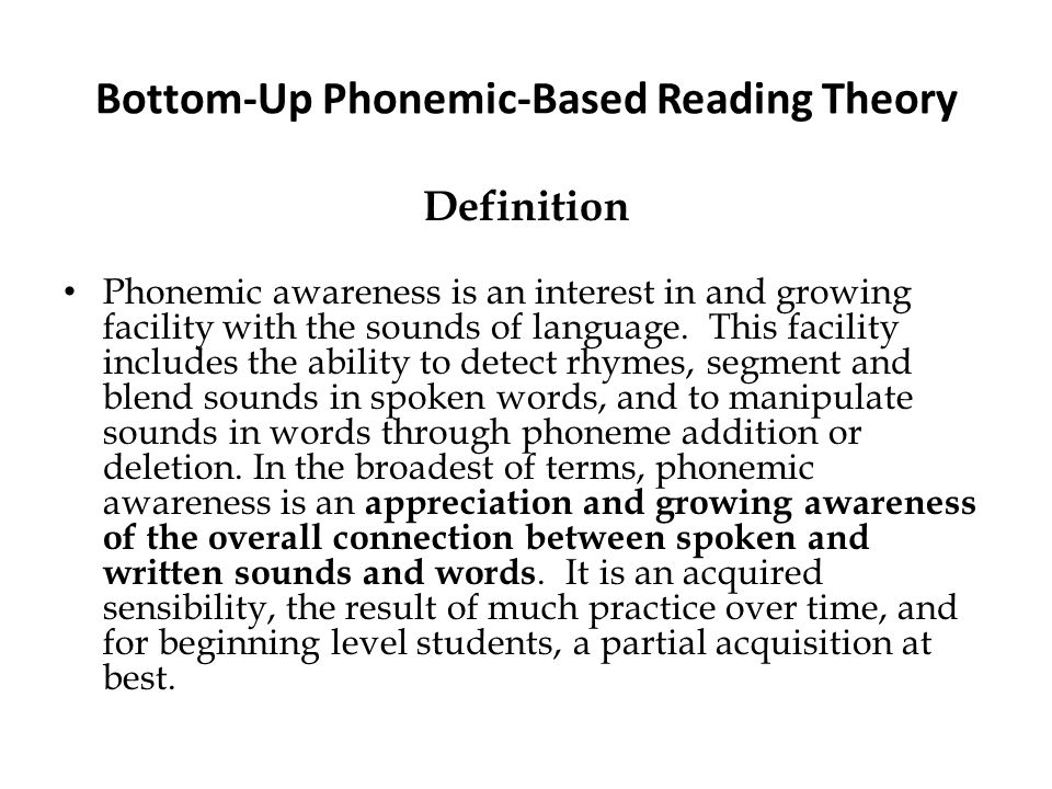 Bottom-Up Phonemic-Based Reading Theory