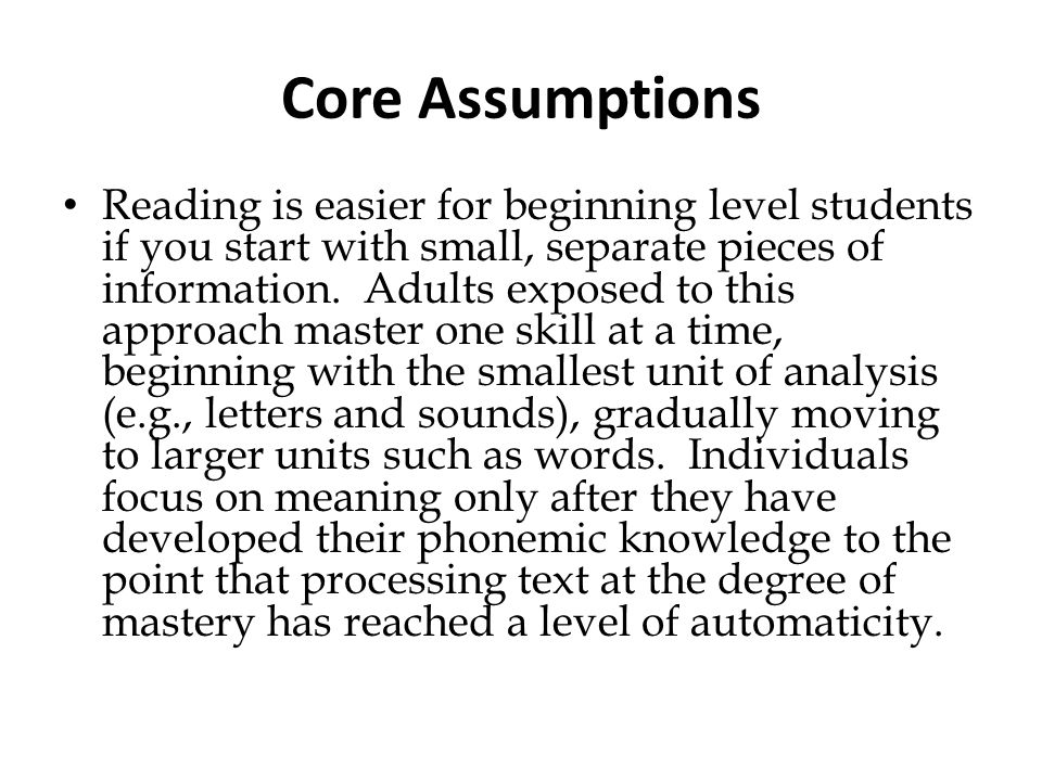 Core Assumptions