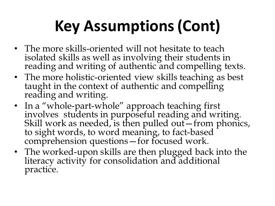 Key Assumptions (Cont)