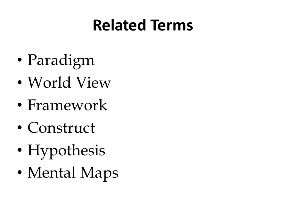Related Terms Paradigm World View Framework Construct Hypothesis