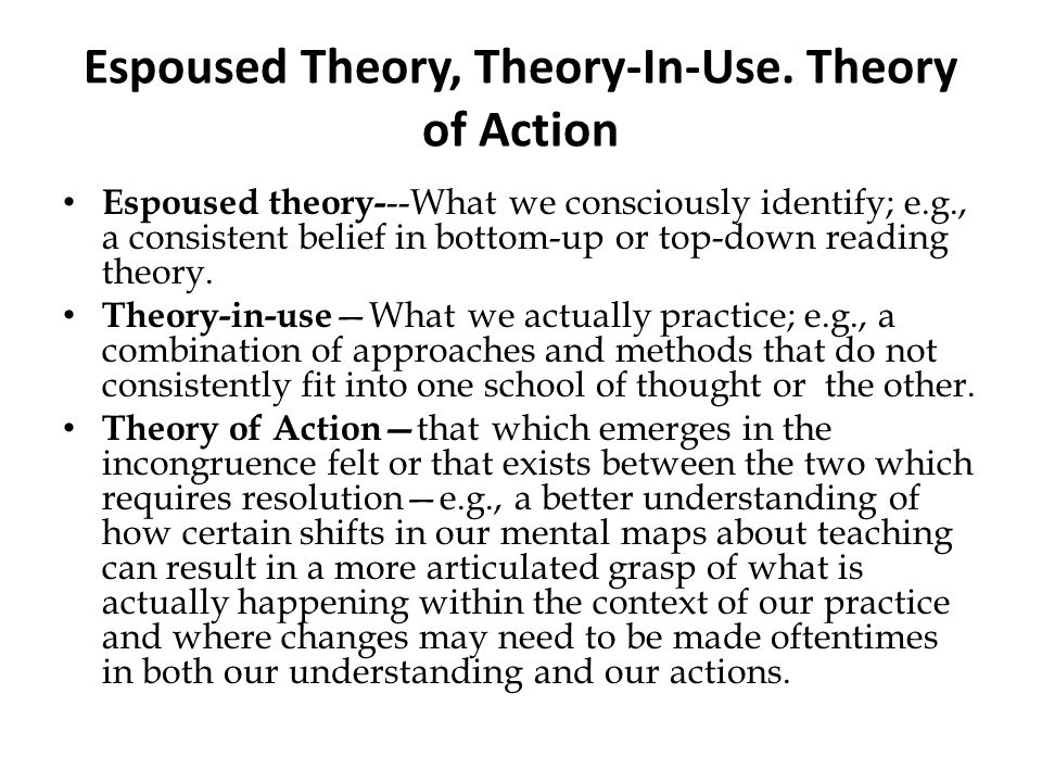 Espoused Theory, Theory-In-Use. Theory of Action