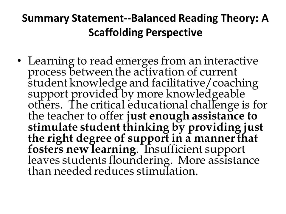Summary Statement--Balanced Reading Theory: A Scaffolding Perspective