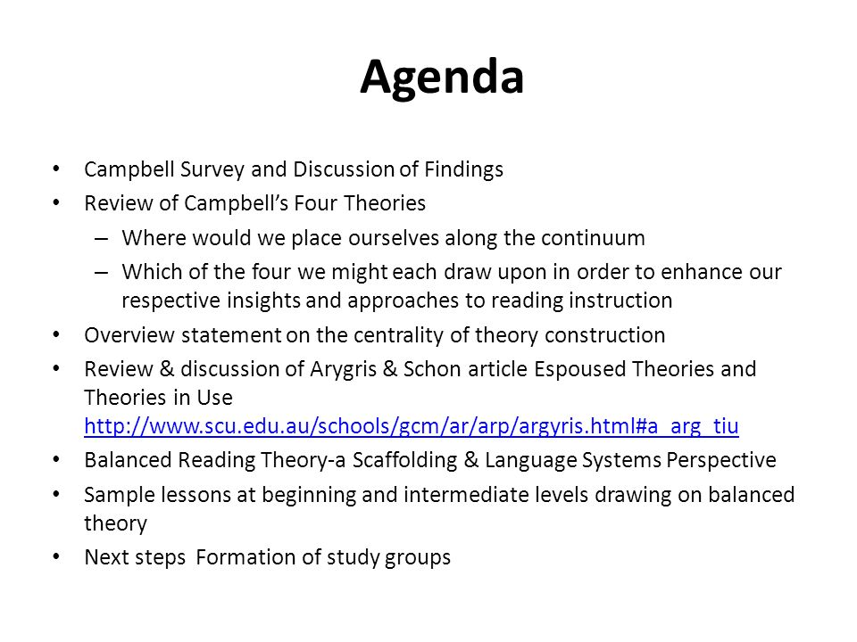 Agenda Campbell Survey and Discussion of Findings