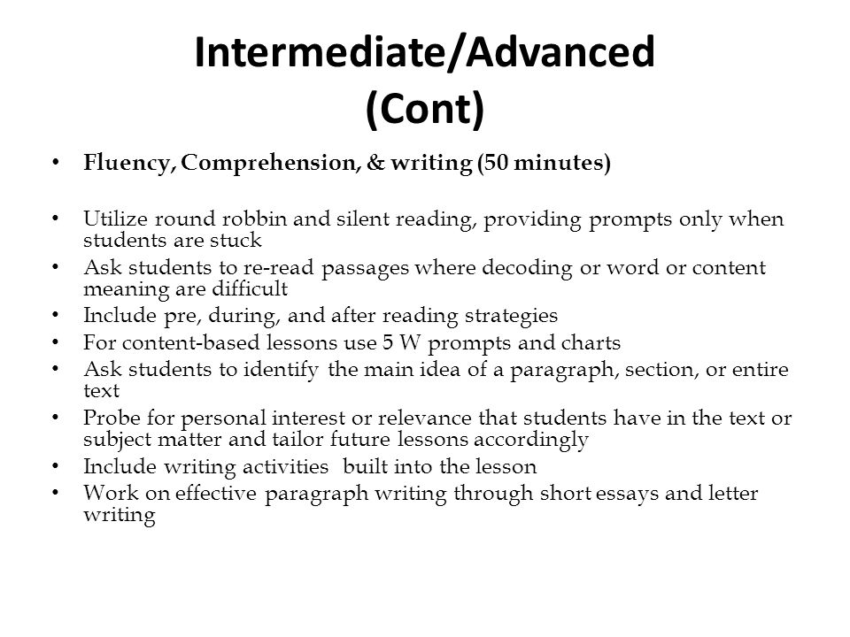 Intermediate/Advanced (Cont)