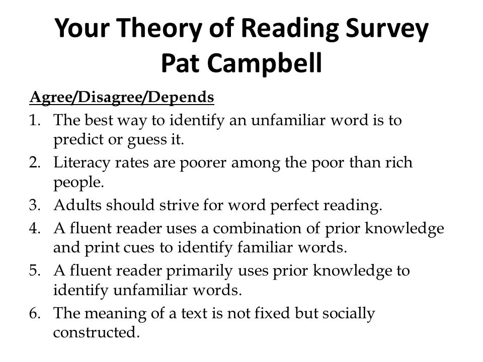 Your Theory of Reading Survey Pat Campbell