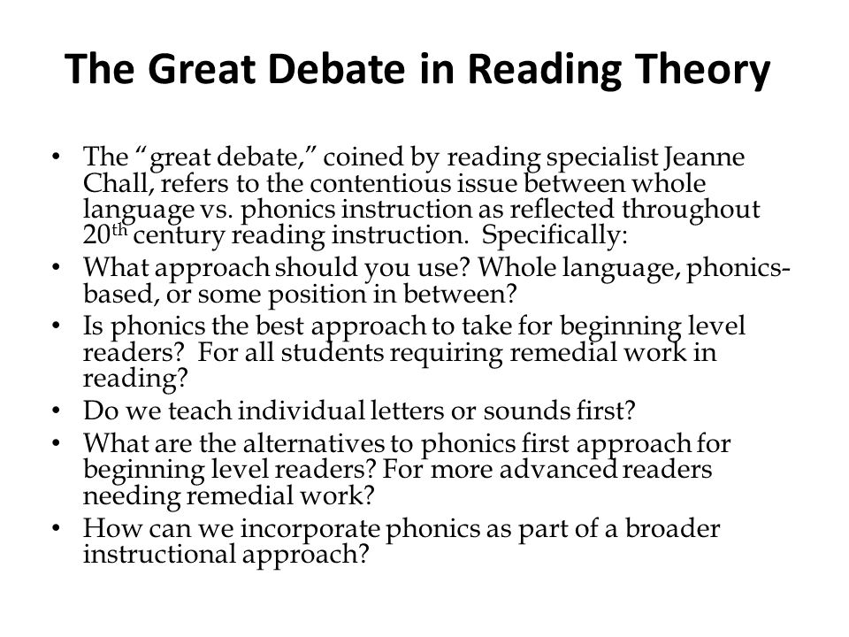 The Great Debate in Reading Theory