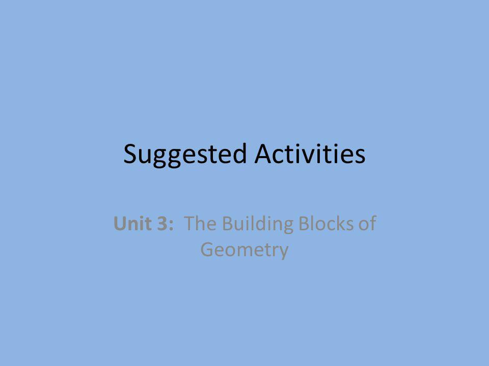 Unit 3: The Building Blocks of Geometry