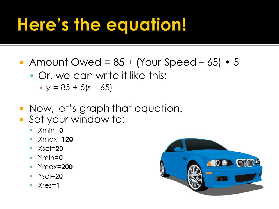 Here's the equation! Amount Owed = 85 + (Your Speed – 65) • 5
