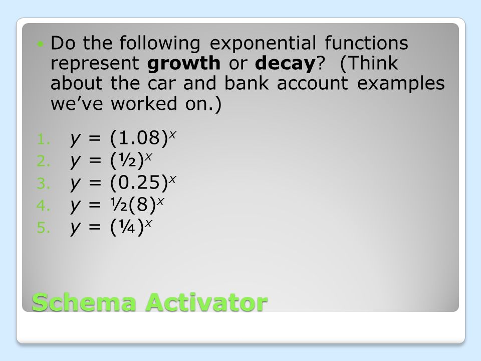 Do the following exponential functions represent growth or decay