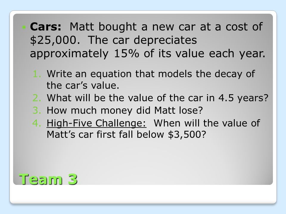 Cars: Matt bought a new car at a cost of $25,000