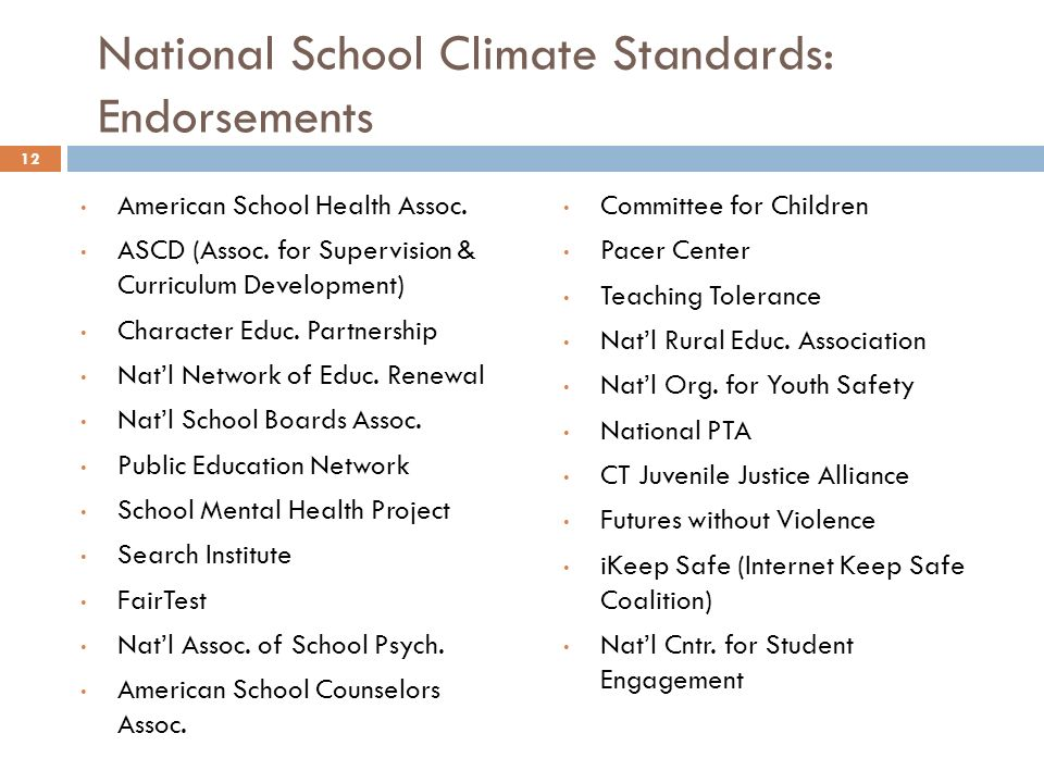 National School Climate Standards: Endorsements