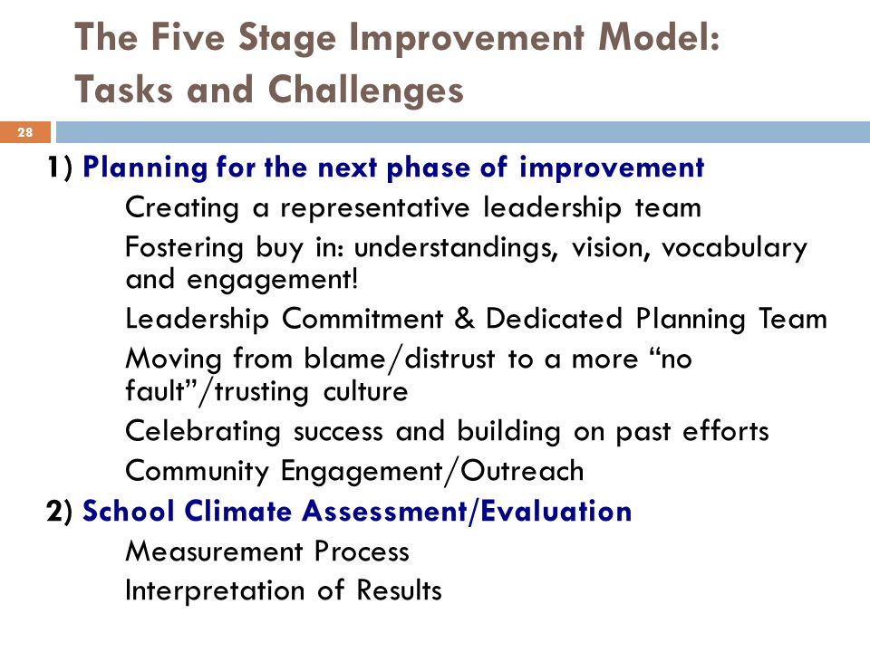 The Five Stage Improvement Model: Tasks and Challenges